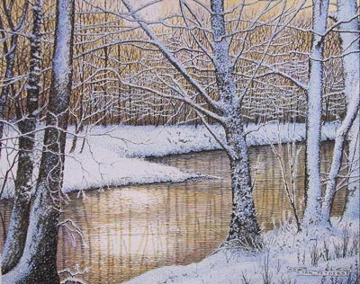 Winter Stream - ink and watercolour by Ian Pethers of Glenrock Studio